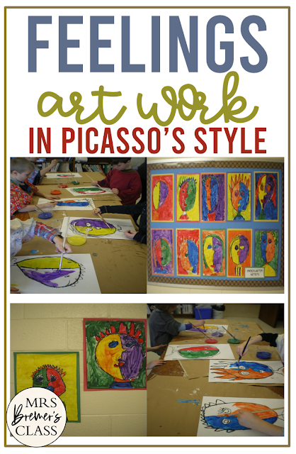 Feelings Art in Picasso Style for Kindergarten and First Grade