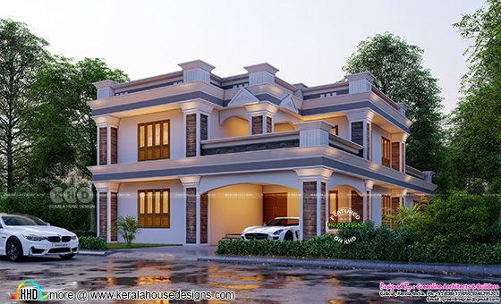 Colonial style flat roof house front view rendering
