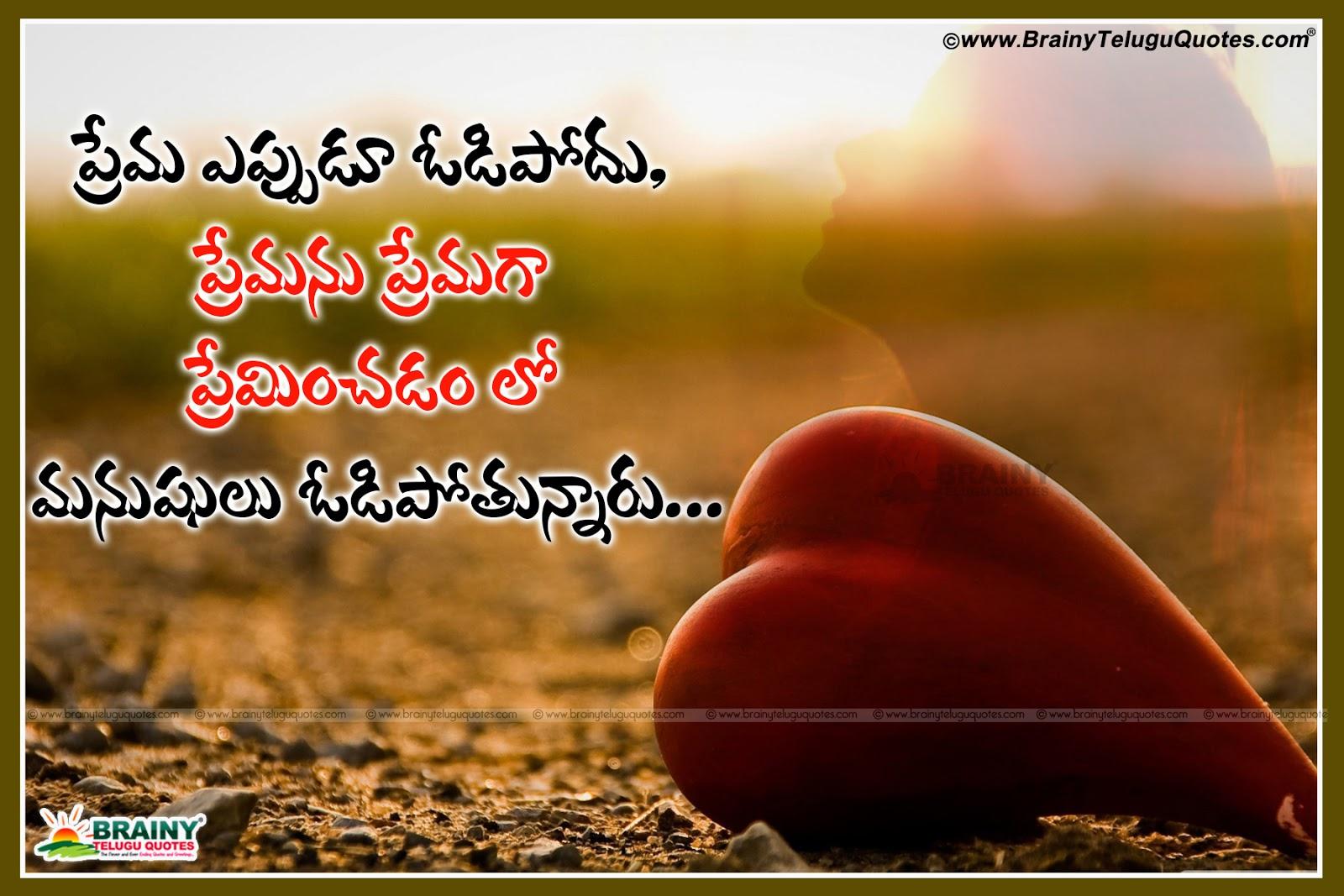 Love Feeling Quotes In Telugu: BrainyTeluguQuotes.comTelugu Quotes