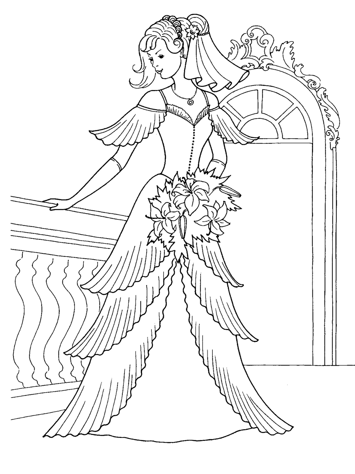 The Wedding Dresses Princess Coloring Sheet to Print ...