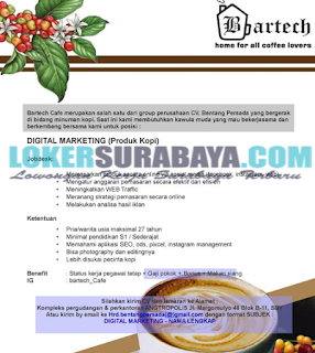 Bursa Kerja Surabaya Terbaru di Bartech Cafe Juni 2019