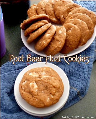 Root Beer Float Cookies, a sweet treat in cookie form. These quick and easy cookies have root beer flavor with a hint of vanilla.   recipe developed by www.BakingInATornado.com   #recipe #cookies