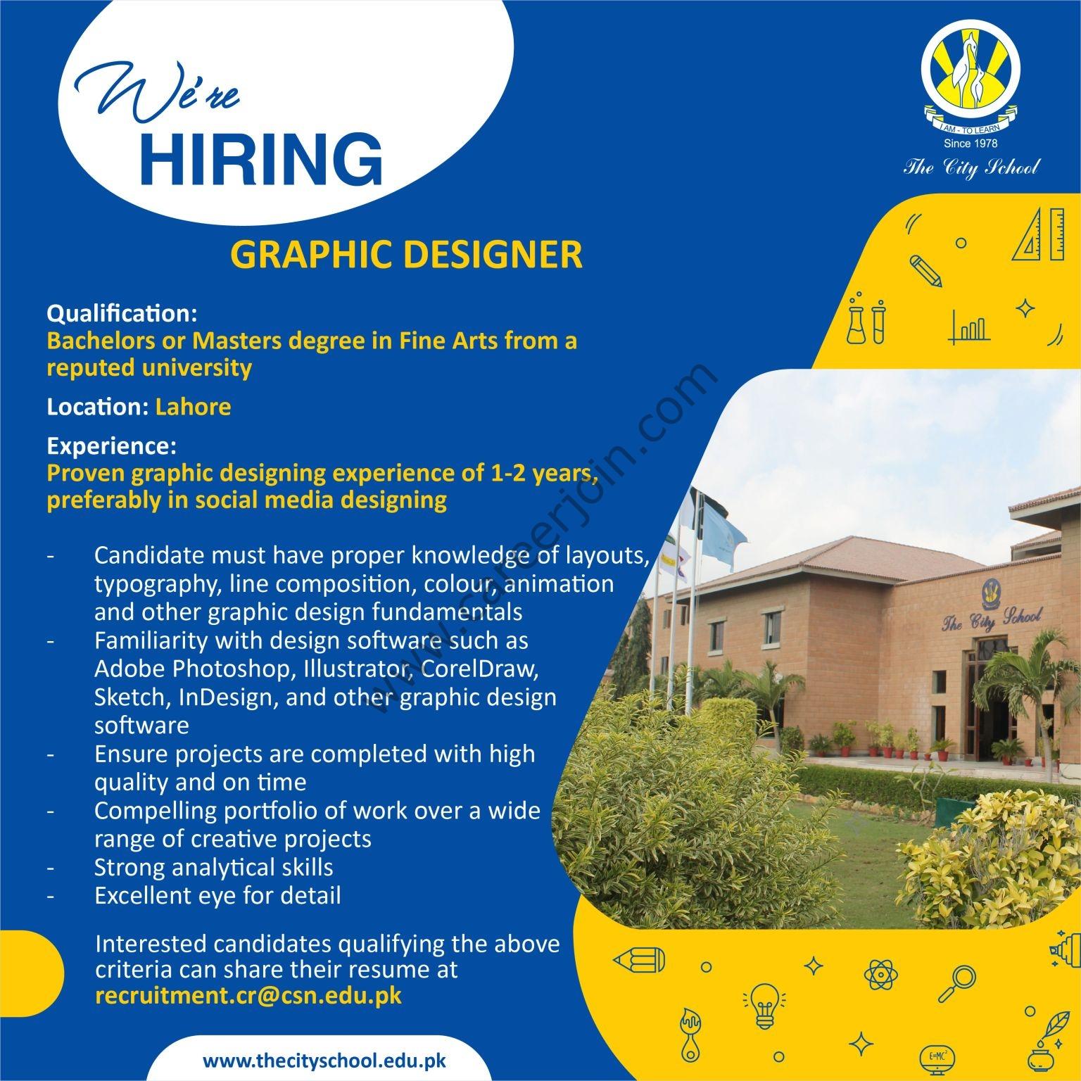 The City School Jobs Graphic Designer