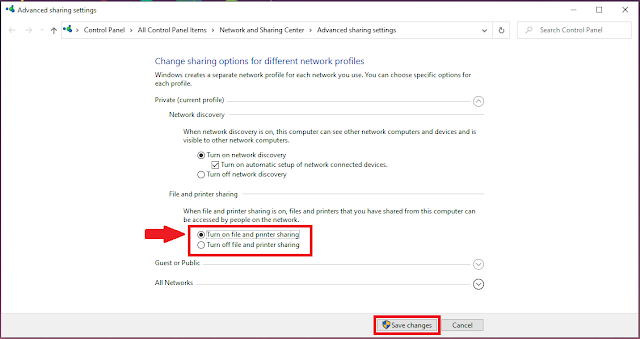 Advanced sharing option in windows