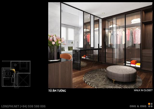Phối cảnh gợi ý thiết kế nội thất tủ âm tường Tháp 8 the View Riviera Point (Ong & Ong).