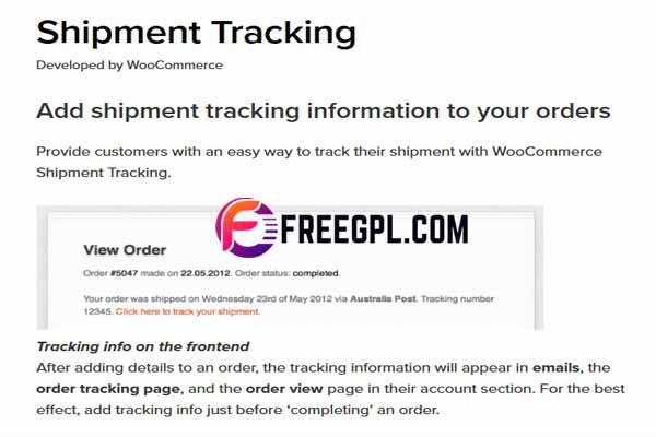 WooCommerce Shipment Tracking WordPress Plugin Free Download