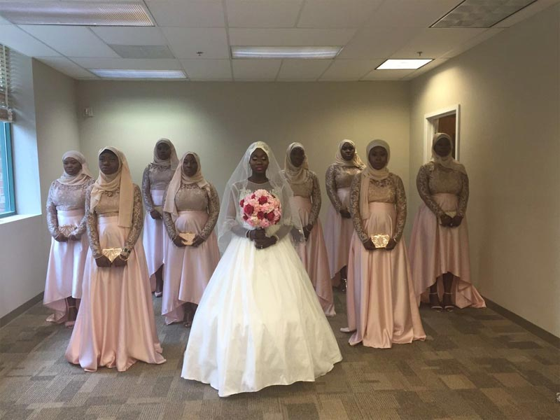 Check out this bride's formation with her girls on her Muslim wedding day