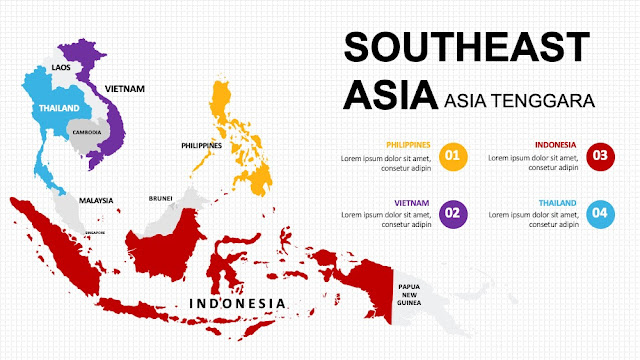 SOUTHEAST ASIA Map diagram slide ppt