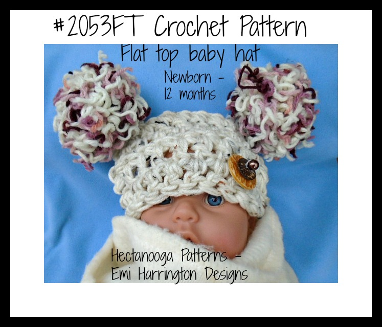 Hectanooga Patterns Free Crochet Pattern Flat Top Baby Hat