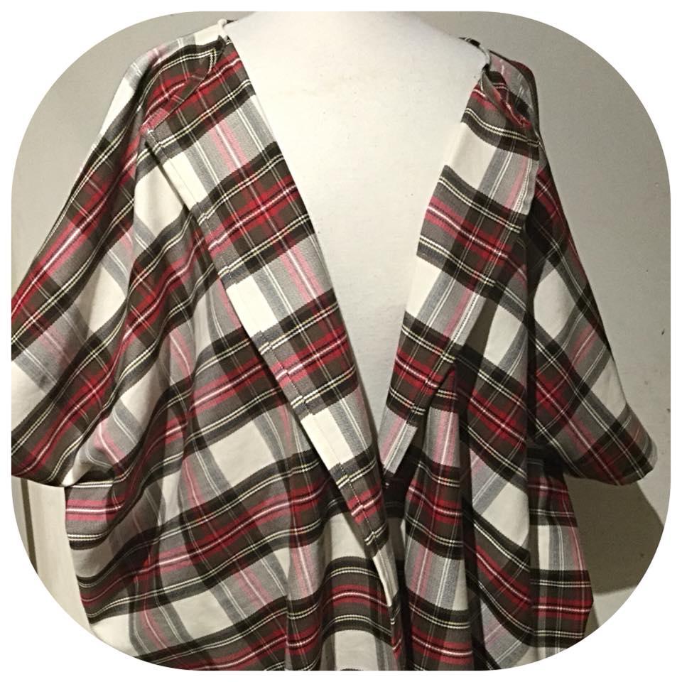 Oscha Tartan kimono wrap cardigan