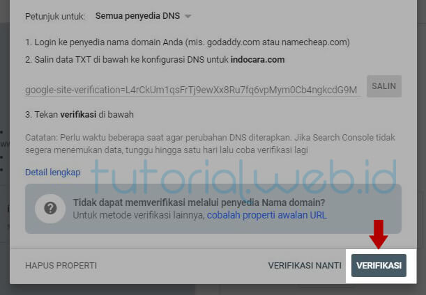 Cara Verifikasi Domain Melalui Data DNS di Cpanel 5 Pilih Verifikasi