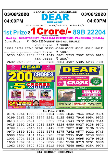 Lottery Sambad Today 03.08.2020 Dear Luck Monday 4:00 pm