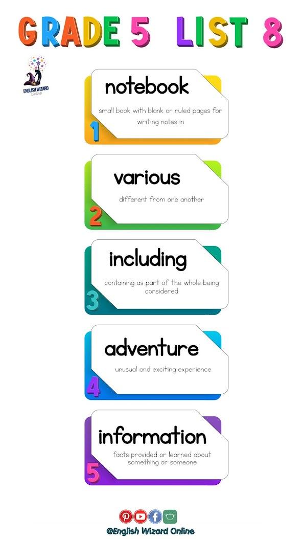 english wizard online grade 5 spelling words printable list