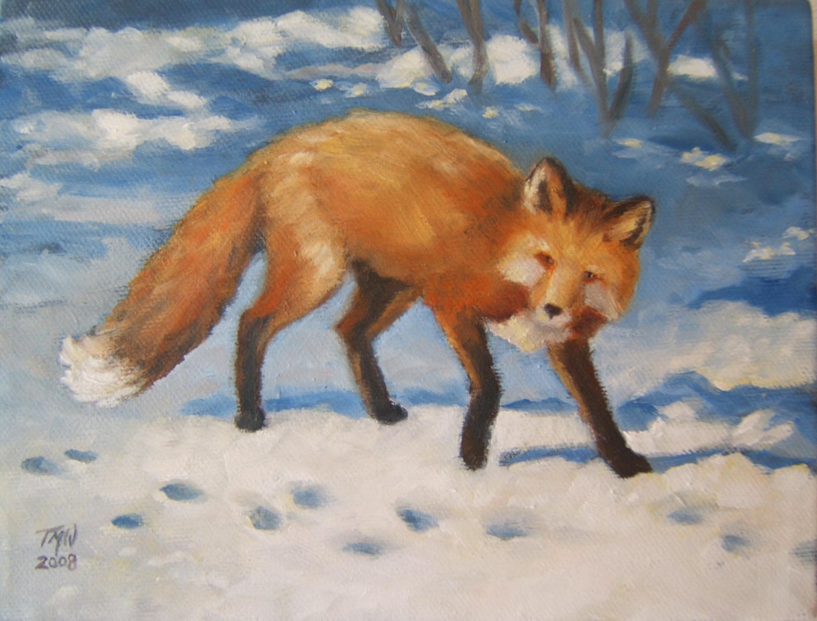 """On the Trail"" 6""x 8""oil on canvas, ©2008 Tina M Welter   A red fox is following footprints in the snow."