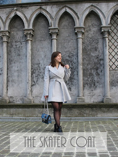 Clothes & Dreams: The skater coat: ASOS petite skater coat with Self Belt and Oversized Collar and asos marble bar earrings