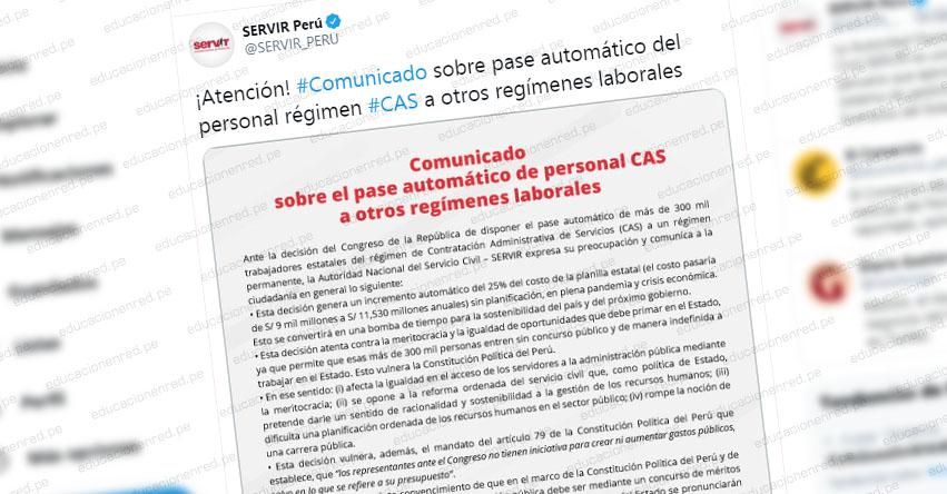 COMUNICADO SERVIR: Sobre pase automático del personal CAS a otros regímenes laborales