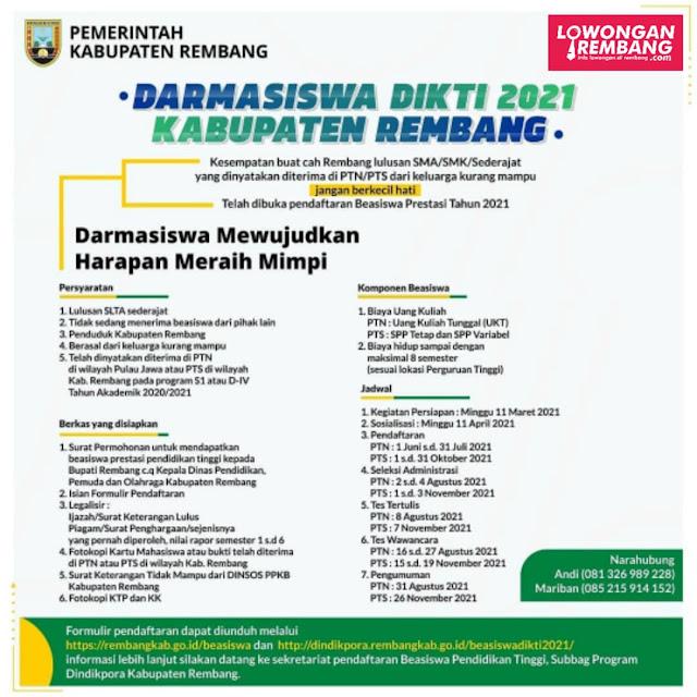 Dibuka Pendaftaran Darmasiswa Dikti 2021 Kabupaten Rembang