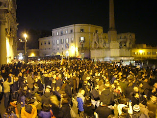 A large crowd assembled outside the Palazzo Quirinale to celebrate Berlusconi's resignation in 2011