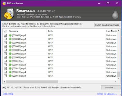 Gambar ilustrasi hasil file proses Scanning di aplikasi recuva