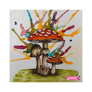 mushroom in watercolor