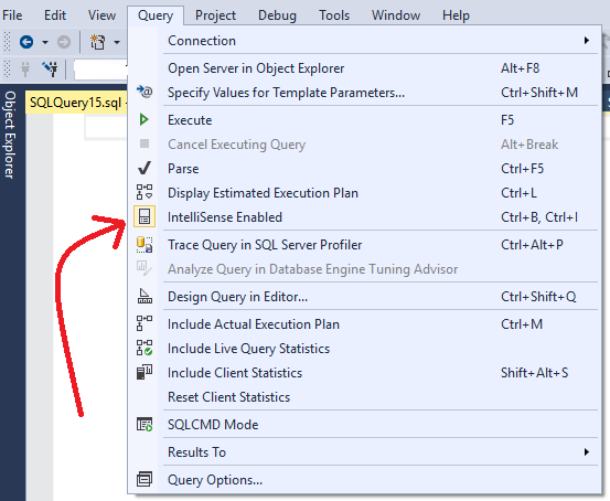 Clear IntelliSense Cache SQL Server 2