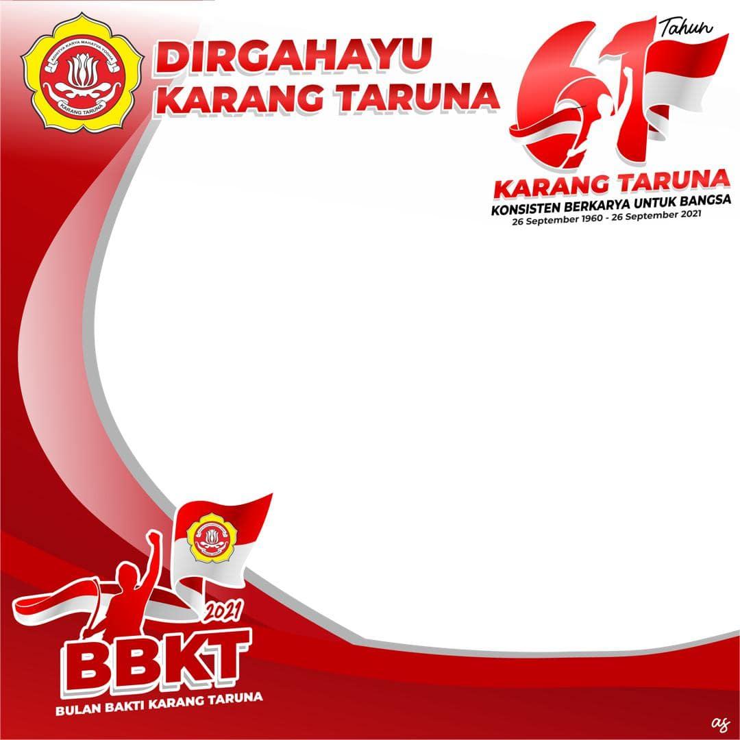 Download Bingkai Foto Twibbon Dirgahayu Karang Taruna 2021, Ulang Tahun Karang Taruna ke-61, BBKT Tahun 2021