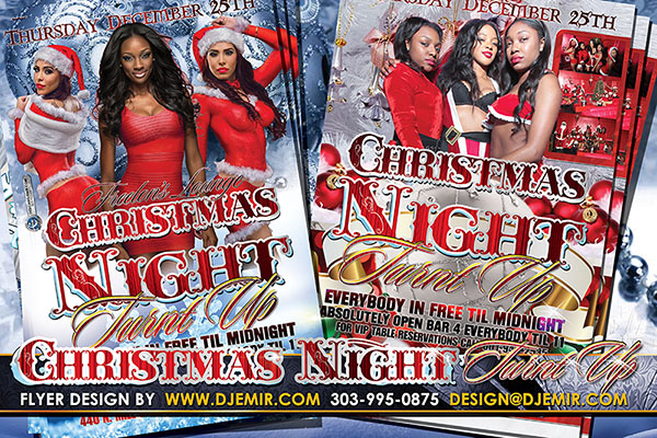 Christmas Night Turnt Up Flyer Design Jackson Mississippi with sexy girls in red santa outfits on silver bell and christmas tree decoration backgrounds