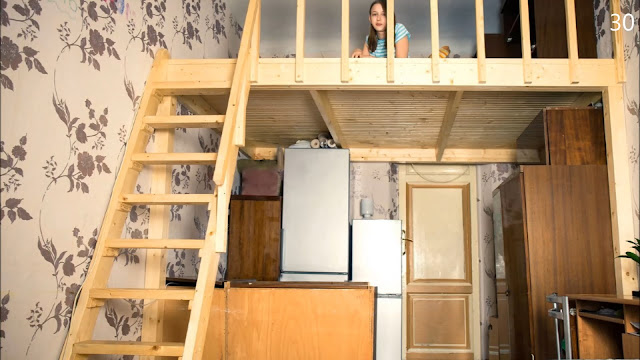 apartamento compacto com mezanino de madeira