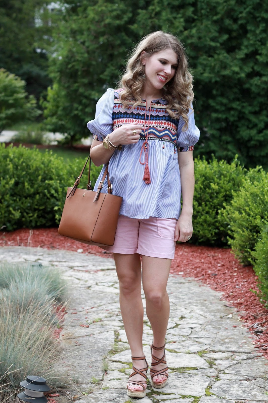 SheIn embroidered top, pink shorts, wedges, Tory Burch tote, second trimester summer maternity outfit