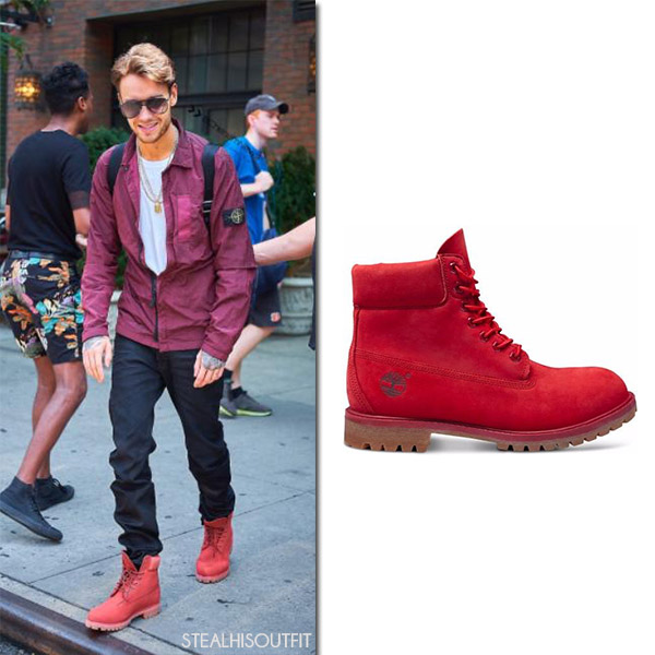 Liam Payne in red leather ankle boots timberland men streetstyle fashion july 2017