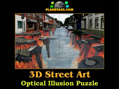 3D street art optical illusion puzzle