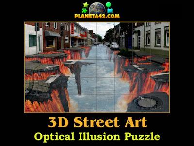 3D street art optical illusion puzzle