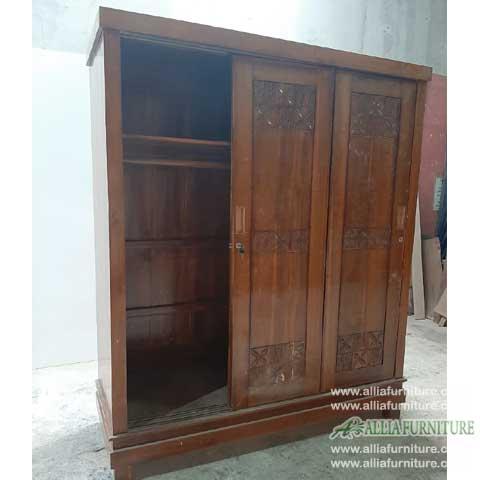 lemari minimalis kayu jati 3 pintu geser ukir
