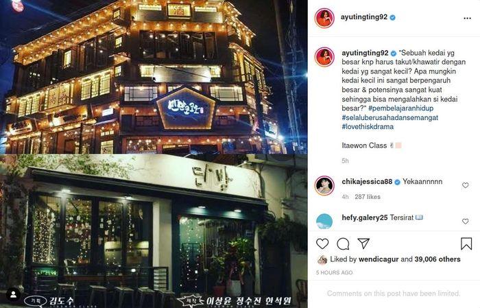 Ayu Ting Ting jatuh cinta pada Drama Korea Itaewon Class, sang pedangdut justru kepergok tuliskan kalimat bijak. Instagram/@ayutingting92