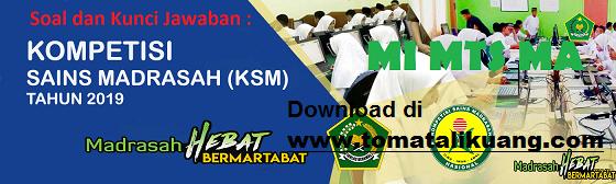 Download Soal & Pembahasan KSM MI MTS MA 2019 Tingkat Kabupaten / Kota