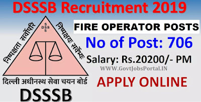 DSSSB 706 Fire Operator Recruitment 2019
