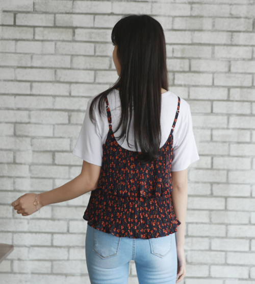 Tiered Floral Bustier Top