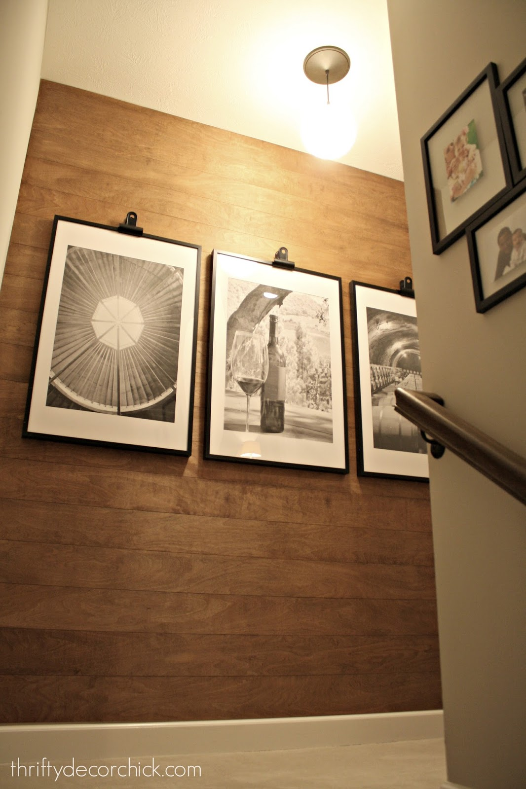 Wood wall with large photos