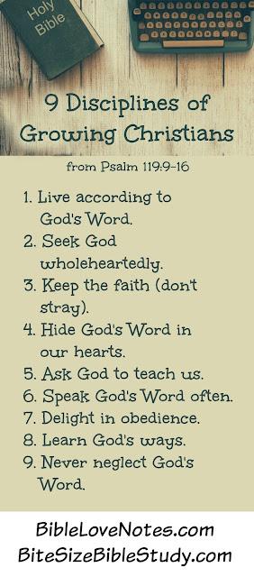 BibleLoveNotes.com, 9 Disciplines from Psalm 119