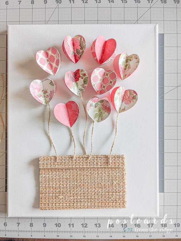 3-d paper hearts and twine