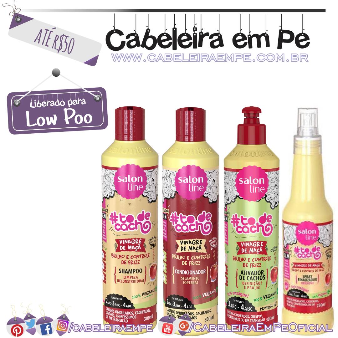 Shampoo (Low Poo), Condicionador, Ativador de Cachos e Spray Finalizador (Liberados para No Poo) Vinagre de Maçã Tô de Cacho - Salon Line