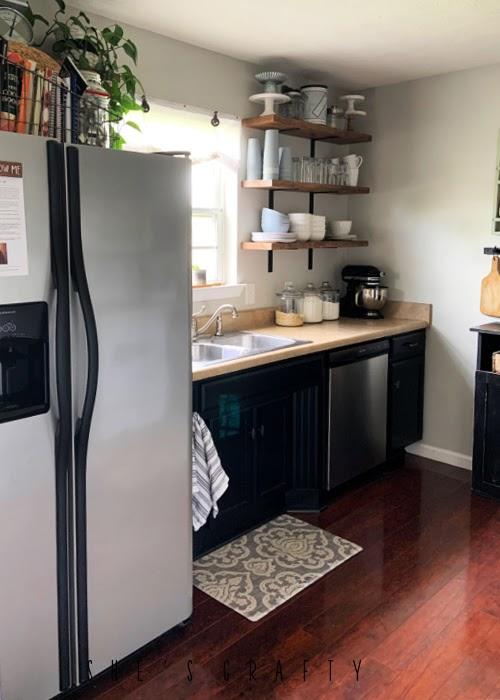 Uniform wood flooring in a kitchen update.