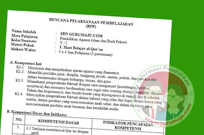 RPP PAI SD Kelas 5 Kurikulum 2013 Semester 1 Revisi Tahun 2019