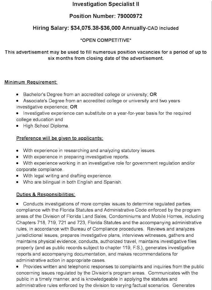 Jobs in Spain for INVESTIGATION SPECIALIST II