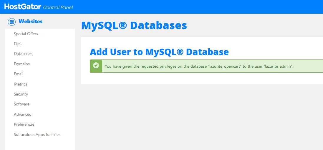 ربط مستخدم بقاعدة البيانات MySQL