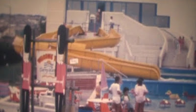The slides on the outdoor pool at Barry Island. 1989. Photo from the Gottfried family archive