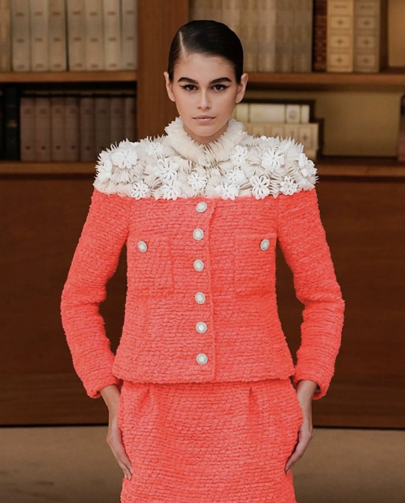 Kaia Gerber on catwalk for librarian-inspired Chanel haute couture show