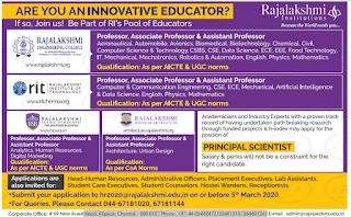 Rajalakshmi Engineering College Assistant Professor Recruitment