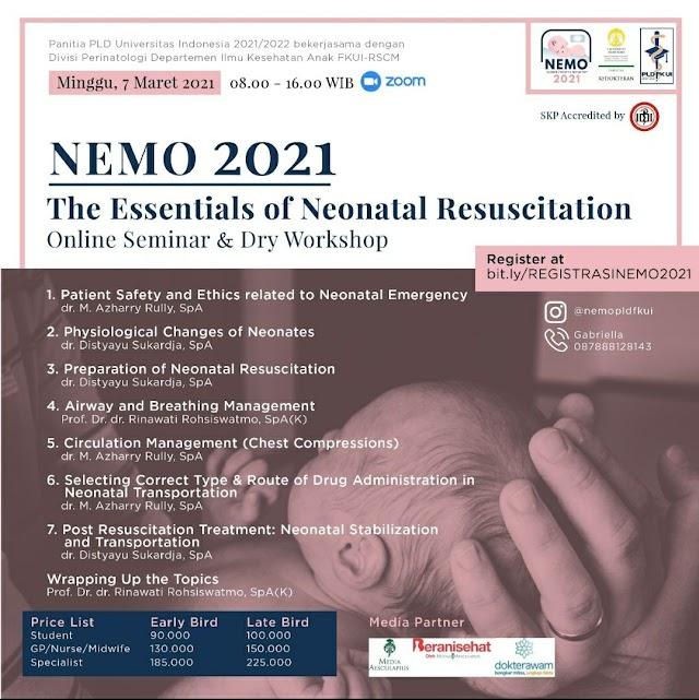 Online Seminar & Dry Workshop Neonatal Emergency Management (NEMO) 2021