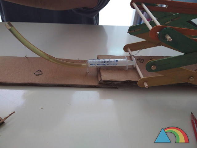 Jeringuilla del mecanismo hidráulico del elevador fijada a la base